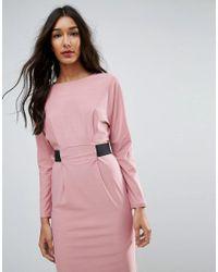 ASOS - Pink Midi Dress With Elastic Waist Detail - Lyst