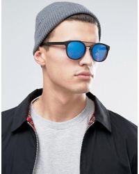 Jack & Jones - Black Round Sunglasses With Blue Lens for Men - Lyst
