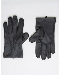 Tommy Hilfiger | Black Leather Gloves for Men | Lyst