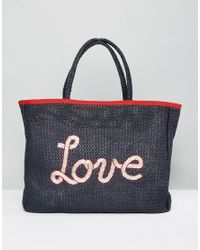 Tommy Hilfiger | Blue Woven Summer Beach Tote Bag | Lyst