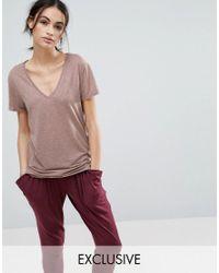 Nocozo   Pink V Neck T-shirt   Lyst