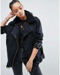 ASOS | Denim Biker Jacket In Washed Black With Detachable Borg Collar | Lyst