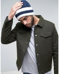 Tommy Hilfiger | Blue Striped Flag Cable Knit Beanie for Men | Lyst