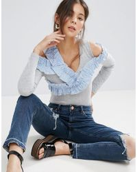 ASOS - Blue Vest Body With Shirting Ruffle - Lyst