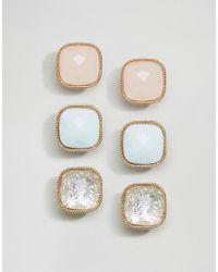 ALDO - Metallic 3 Pack Stud Gold & Glass Square Earrings - Lyst