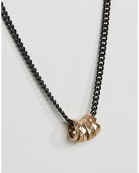 ASOS - Metallic Necklace With Gold Ring Detail for Men - Lyst