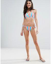 New Look - Blue Stripe Tie Side Bikini Bottom - Lyst
