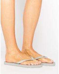 Pieces | Vera Silver Metallic Flip Flop Sandals | Lyst
