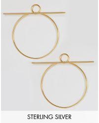 Lavish Alice | Metallic Sterling Silver Gold Plated Hoop Bar Oversized Earrings | Lyst