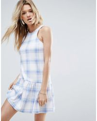 ASOS | Drop Hem Dress In Pastel Blue Check | Lyst