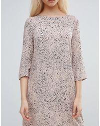 Vila - Pink Printed Wrap Over Dress - Lyst