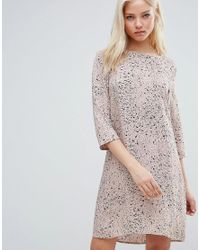 Vila | Pink Printed Wrap Over Dress | Lyst