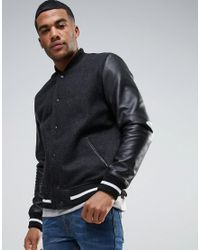 ASOS | Wool Mix Varsity Jacket With Leather Sleeves In Black for Men | Lyst
