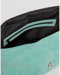 ASOS - Green Suede Triangle Clutch Bag - Lyst