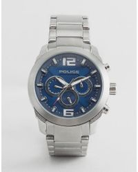 Police - Metallic Quartz Watch With Blue Dial Chronograph Display for Men - Lyst
