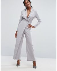 Lavish Alice | Gray Tailored Jumpsuit With Wrap Detail | Lyst