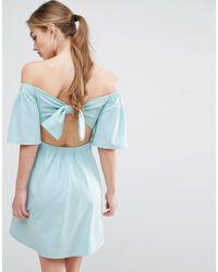 ASOS | Blue Crepe Bardot Bow Back Mini Dress | Lyst