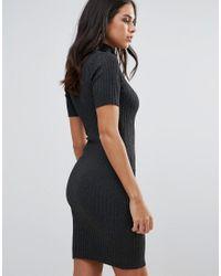 Lipsy | Gray Ribbed Sweater Dress | Lyst
