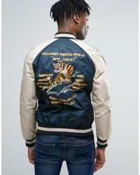 Schott Nyc - Blue Suka Souvenir Bomber Jacket Back Embroidery In Navy/off White for Men - Lyst