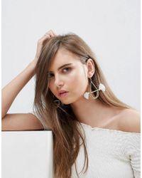 ASOS | White Sleek Bead & Bar Tassel Earrings | Lyst