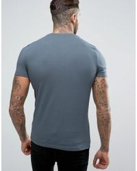 ASOS - Muscle Fit Crew Neck T-shirt In Blue for Men - Lyst
