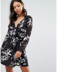 Lipsy | Black Long Sleeve Floral Ruffle Skater Dress | Lyst