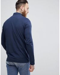 SELECTED - Blue High Neck Long Sleeve Pique Top With Zip for Men - Lyst