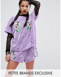 Jaded London | Purple Velvet T-shirt With Bee Embroidery | Lyst