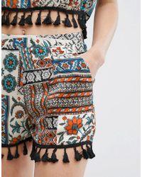 Daisy Street - Multicolor Festival Shorts With Tassel Hem - Lyst