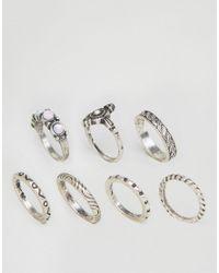 New Look - Metallic Boho Multi Stacked Rings - Lyst