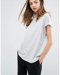 Weekday - Gray High Neck T Shirt - Lyst