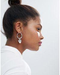 Monki   Metallic Heart Hoop Earrings   Lyst