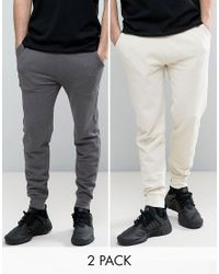 ASOS - Multicolor Skinny Joggers 2 Pack Charcoal Marl/ Off White Save for Men - Lyst