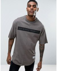 Criminal Damage | Gray Relaxed Fit T-shirt With Curved Hem for Men | Lyst