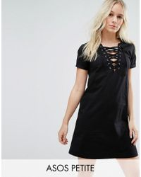ASOS | Black Lace Up Front T-shirt Dress | Lyst
