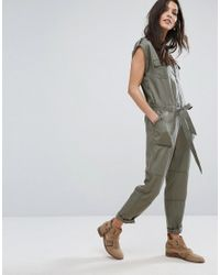 c7a97634352 Abercrombie   Fitch Zip-front Utility Jumpsuit in Green - Lyst