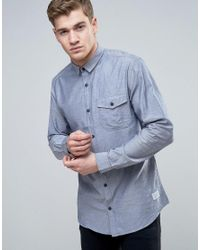 Jack & Jones   Blue Core Long Sleeve Slim Fit Chambray Shirt With Button Pocket for Men   Lyst