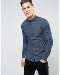 Blend | Blue Slim Fit Cross Print Shirt for Men | Lyst