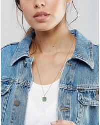 Pieces | Metallic Karina Semi Precious Stone Pendant Necklace | Lyst