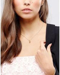 ASOS - Metallic Pink Flamingo Necklace - Lyst