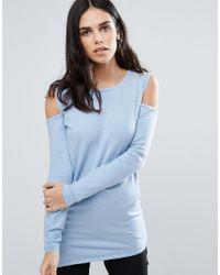 Fashion Union | Blue Cold Shoulder Jumper | Lyst
