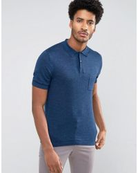 Reiss - Blue Knitted Polo for Men - Lyst