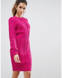 Boohoo | Yellow Cable Knit Sweater Dress | Lyst