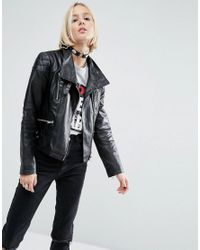 ASOS | Black Leather Biker Jacket With Funnel Neck | Lyst