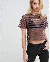 Mango | Pink Metallic And Mesh Stripe Top | Lyst