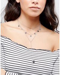 ASOS - Metallic Coin Multirow Necklace - Lyst