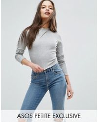ASOS   Gray Crop Rib Long Sleeve Top   Lyst