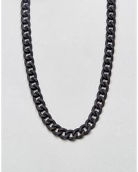 ASOS - Chain Necklace In Black With Rubberised Finish for Men - Lyst