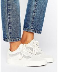 Vans - White Old Skool Varsity Patch Trainer - Lyst