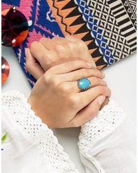 Glamorous - Metallic Statement Turquoise Stone Ring - Lyst